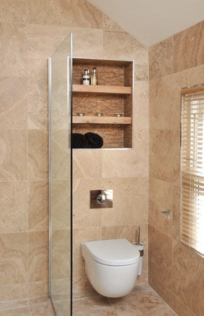 recessed shelves bathroom